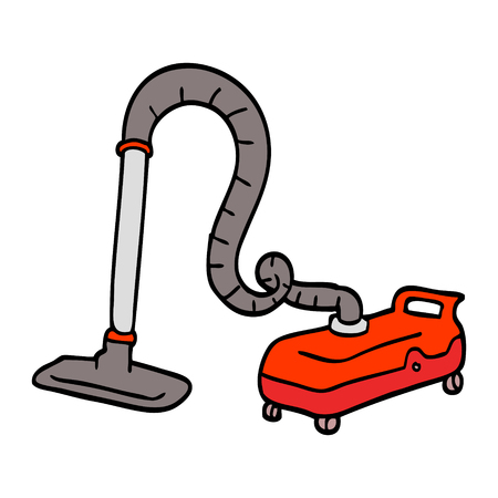 hand drawn doodle style cartoon vacuum hoover