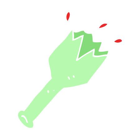 flat color illustration cartoon  smashed glass bottle Illustration