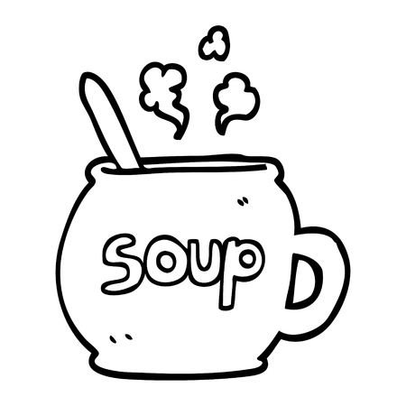 black and white cartoon cup of soup