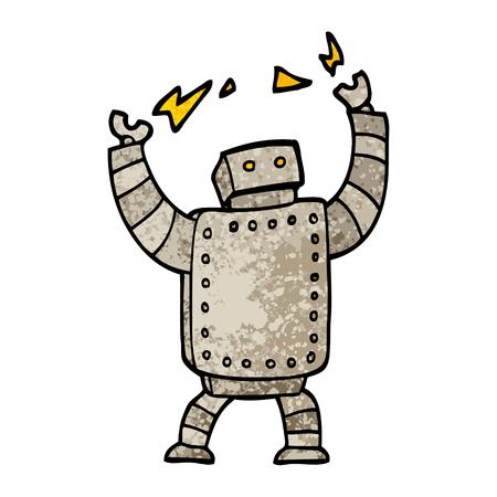 grunge textured illustration cartoon giant robot