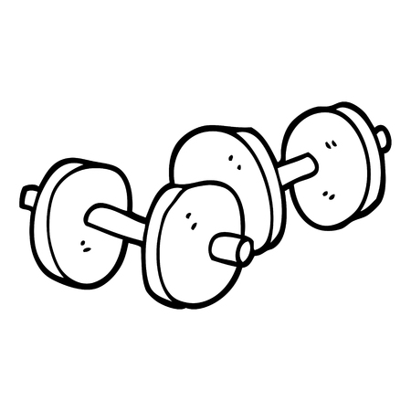 black and white cartoon pair of dumbbells