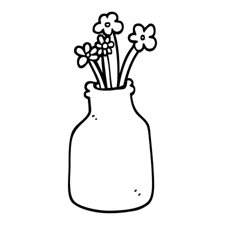 black and white cartoon flowers in vase