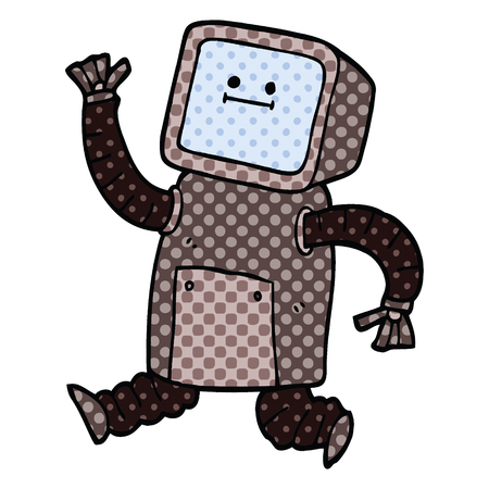 comic book style cartoon robot running