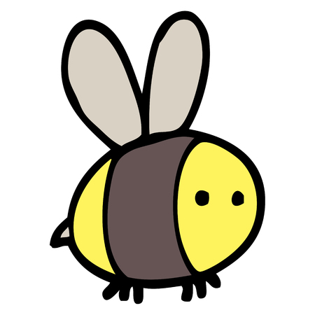 hand drawn doodle style cartoon bee