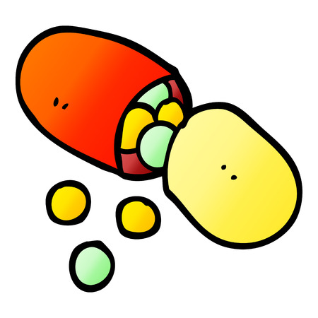 vector gradient illustration cartoon capsule pill Illustration