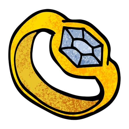 anillo de diamantes de dibujos animados de ilustración con textura grunge