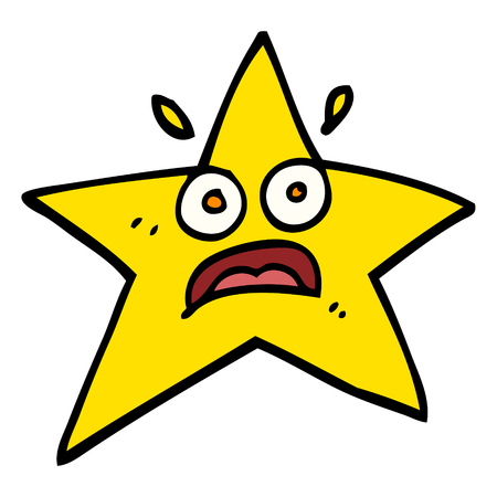 funny hand drawn doodle style cartoon star