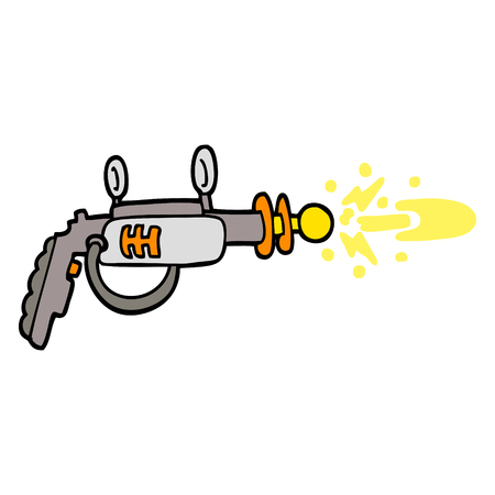 hand drawn doodle style cartoon ray gun Çizim