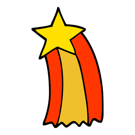 hand drawn doodle style cartoon shooting star