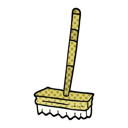 comic book style cartoon sweeping brush