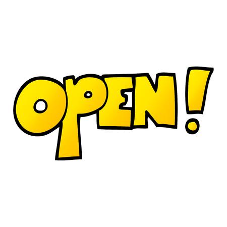 vector gradient illustration cartoon open sign  イラスト・ベクター素材