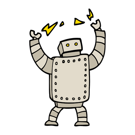 hand drawn doodle style cartoon giant robot