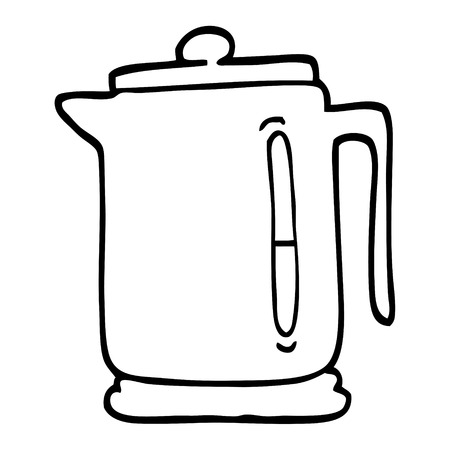 black and white cartoon kettle