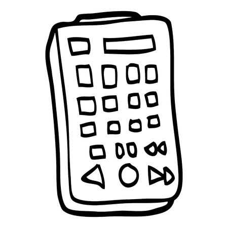 black and white cartoon remote control  イラスト・ベクター素材