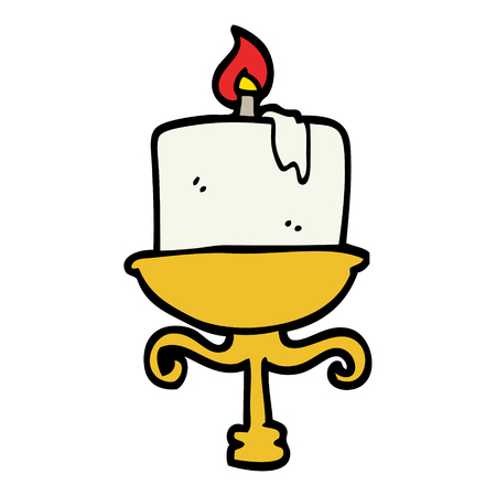 hand drawn doodle style cartoon old candlestick Vettoriali
