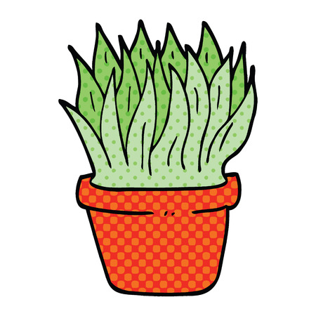 comic book style cartoon house plant