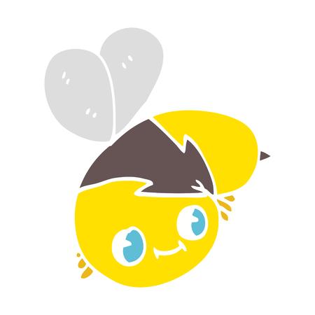cute flat color illustration cartoon bee