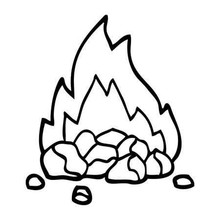 black and white cartoon burning coals