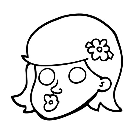 black and white cartoon face of a girl