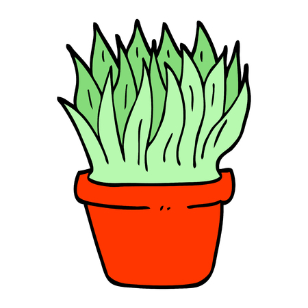 hand drawn doodle style cartoon house plant