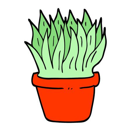 hand drawn doodle style cartoon house plant