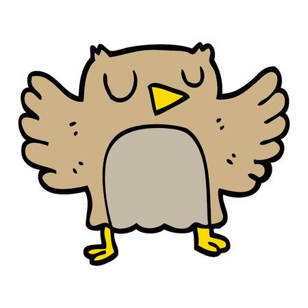 hand drawn doodle style cartoon owl Ilustração
