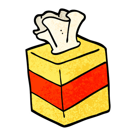 grunge textured illustration cartoon tissue box 矢量图像