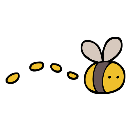 hand drawn doodle style cartoon buzzing bee