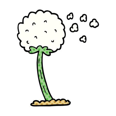 comic book style cartoon dandelion blowing in wind