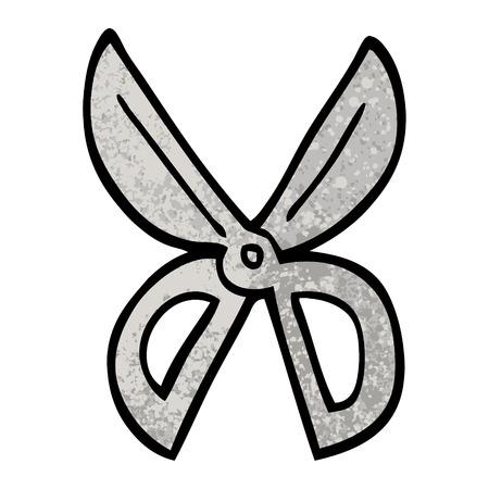 grunge textured illustration cartoon scissors 向量圖像