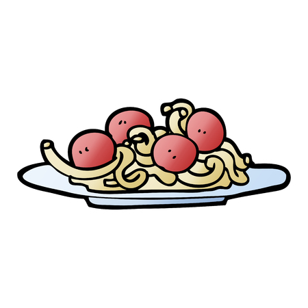 vector gradient illustration cartoon spaghetti and meatballs
