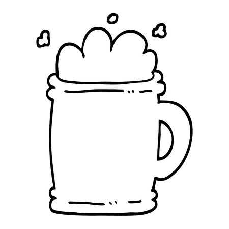 black and white cartoon beer tankard