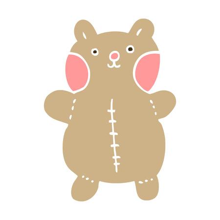 flat color illustration cartoon teddy bear