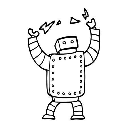 black and white cartoon giant robot