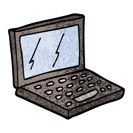 grunge textured illustration cartoon laptop computer Illustration
