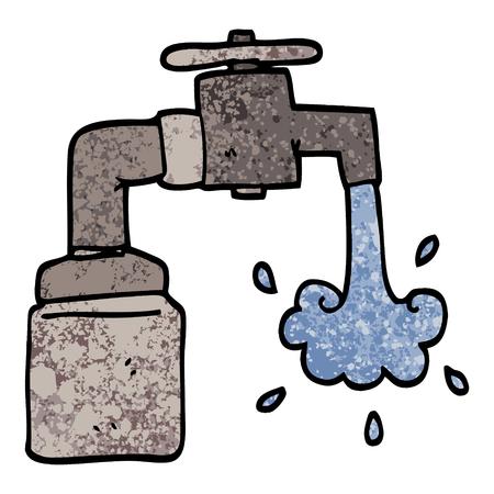 grunge textured illustration cartoon running faucet