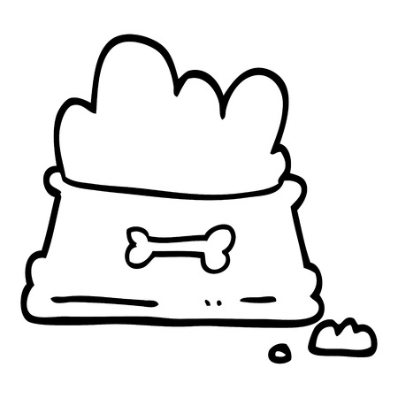 black and white cartoon dog food bowl