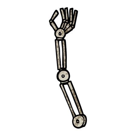 grunge textured illustration cartoon robotic arm