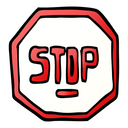 vector gradient illustration cartoon stop sign