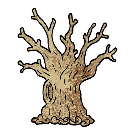 grunge textured illustration cartoon tree