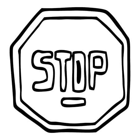 black and white cartoon stop sign