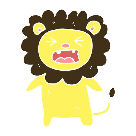 flat color illustration cartoon roaring lion Illustration