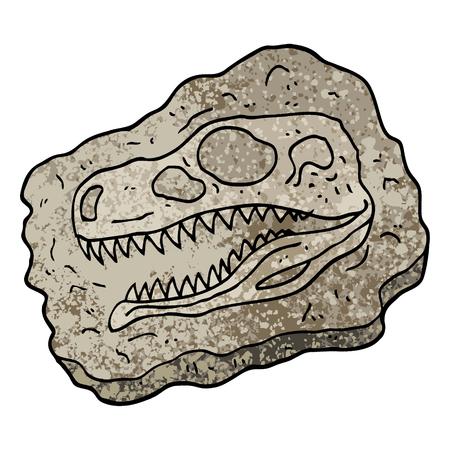 grunge textured illustration cartoon ancient fossil Vector Illustratie