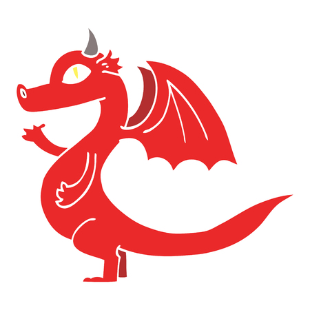 cute flat color illustration cartoon dragon