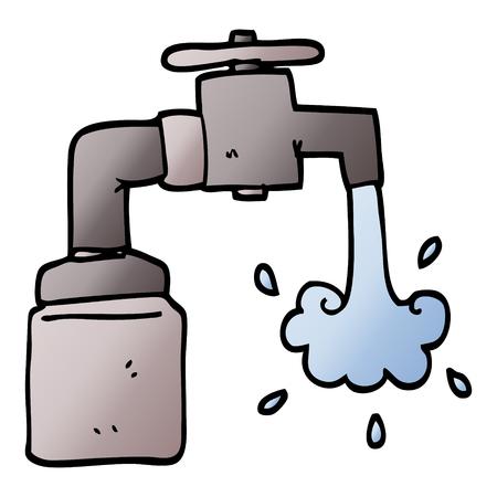 vector gradient illustration cartoon running faucet