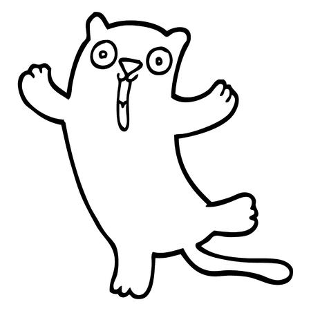 black and white cartoon happy cat