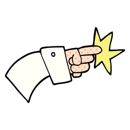 comic book style cartoon pointing hand icon Illustration