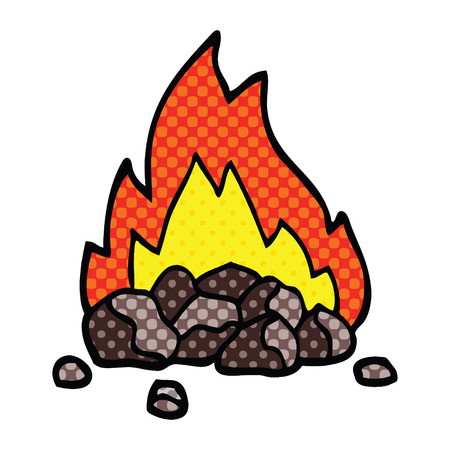 comic book style cartoon burning coals Illustration