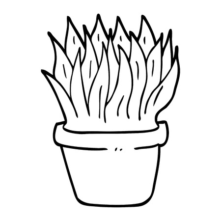 black and white cartoon house plant