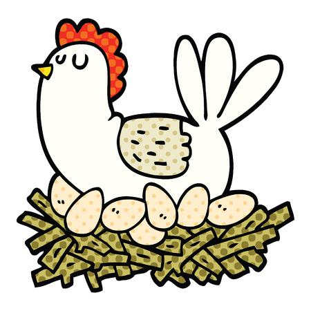 Poulet de dessin animé de style bande dessinée sur nid d'oeufs